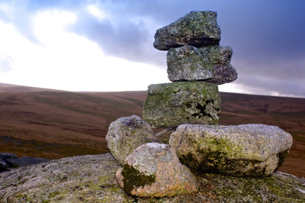 A small cairn on the peak of a Tor.