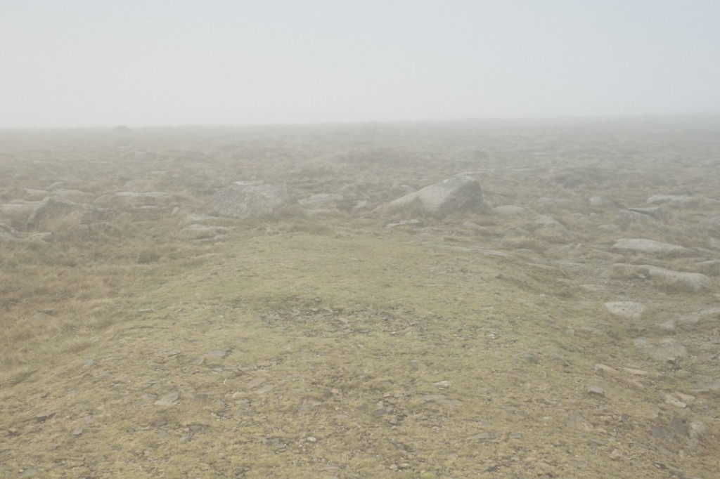"""The end of the path that led to the base of Yes Tor. A thick fog had rolled in quite suddenly from absolutely nowhere."""