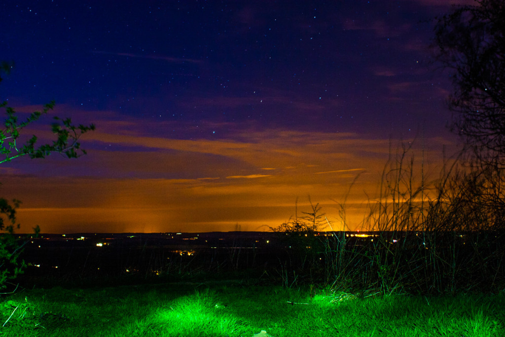 Nighttime on the Test Way near Combe Gibbet, Berkshire