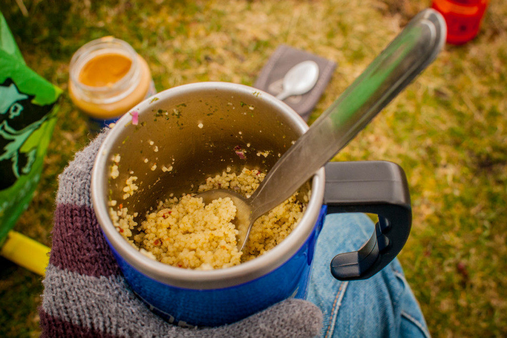 A simple wild camping lightweight lunch